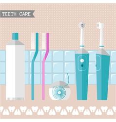 Set of teeth care icons vector