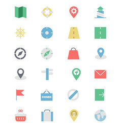 Map and navigation colored icons 2 vector