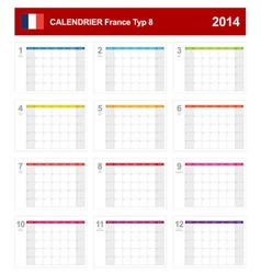 Calendar 2014 french type 8 vector