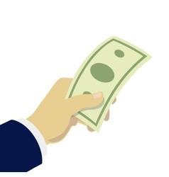 Hand giving money vector
