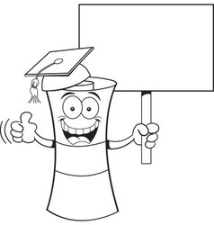 Cartoon diploma holding a sign vector