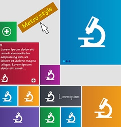 Microscope icon sign metro style buttons modern vector
