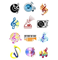 Colorful musical icons set vector