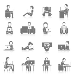 Computer working icons set vector