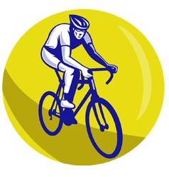 Cyclist riding racing bike vector