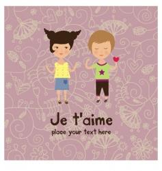 Valentine kids greeting card vector
