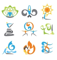 Yoga emblems set vector