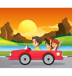 A boy travelling with two cute girls vector