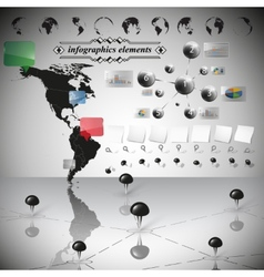 Map of south and north america infographic vector
