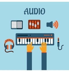 Sound recording flat concept vector