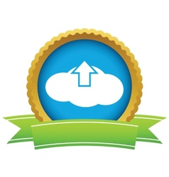 Gold upload cloud logo vector