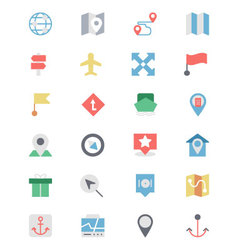 Map and navigation colored icons 4 vector
