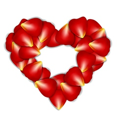 Heart frame from red rose petals on white vector