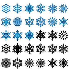 Set of thirty blue and black snowflakes vector
