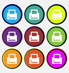 Printing icon sign nine multi-colored round vector