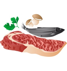 Meat fish and mushrooms vector