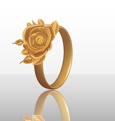 Jewelry ring with golden rose vector