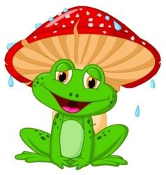 Mushroom with a toad cartoon vector