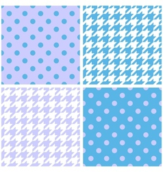 Blue white and violet houndstooth background set vector