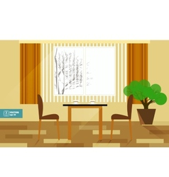 Flat interior room with sofa vector