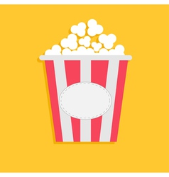 Big popcorn with empty label tag cinema icon flat vector