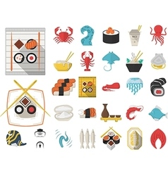 Collection of 29 flat icons for seafood vector