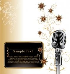 Vintage microphone background vector