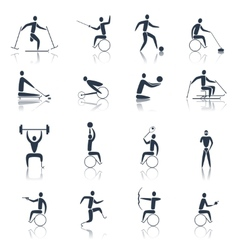 Disabled sports icons black vector