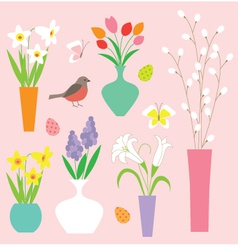 Easter flowers vector