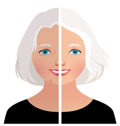 Mature woman before and after cosmetic operation vector
