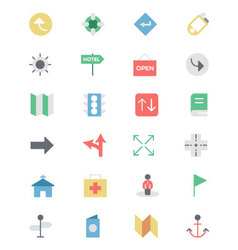 Map and navigation colored icons 5 vector