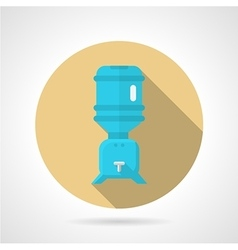 Water cooler flat round icon vector