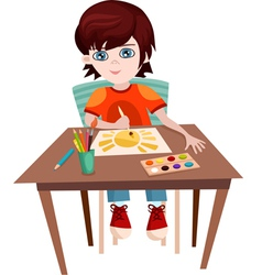Child painting vector