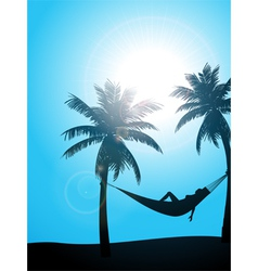 Summer sunbather silhouette vector