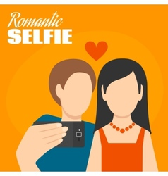 Romantic selfie poster vector
