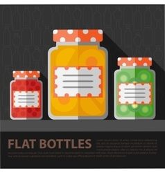 Color flat homemade jam bottle template vector