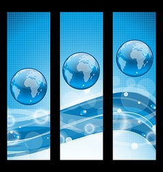 Abstract banners wavy water line and earth symbol vector