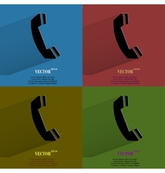 Color set phone flat modern web button with long vector
