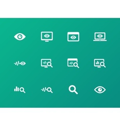 Monitoring icons on green background vector