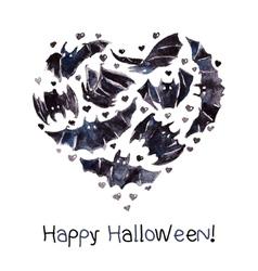 Bats heart waterolor happy halloween vector