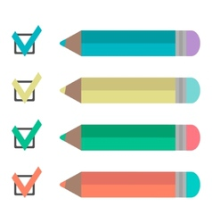 Set of pencils and check marks vector