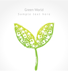Green sprout with leaves made of handprint vector