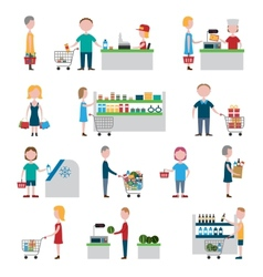 Supermarket people set vector