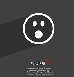 Shocked face smiley icon symbol flat modern web vector