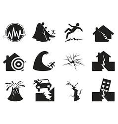 Black earthquake icons set vector