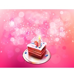 With piece of chocolate cake vector
