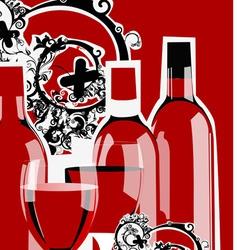 Funky wine bottles vector