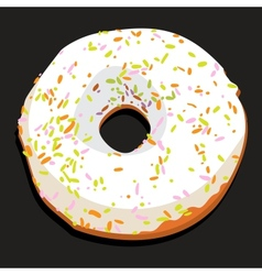 Delicious donut with colorful icing vector