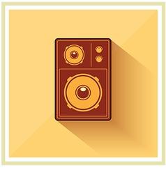 Retro loudspeaker flat vintage icon vector
