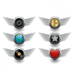 Winged badges vector